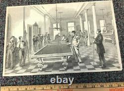 1875 Original Antique Billiards Pool Print Picture