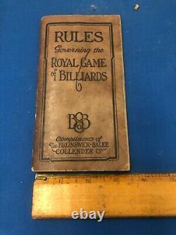 1925 Original Antique billiards pool Brunswick Balke Collender rules book
