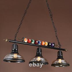 39 Wrought Iron Ball Design Wood Pool Table Light Billiard lamp W Glass Shades