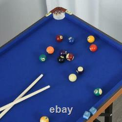 55'' Portable Folding Billiards Table Game Pool Table with Cues, Ball, Rack, Brush
