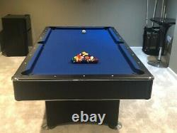 7-Foot Pool Table with Blue Felt & Internal Ball Return Cue Stand, Sticks & Balls