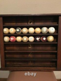 Antique Billiard Pool Ball Wall Rack 6 Shelves