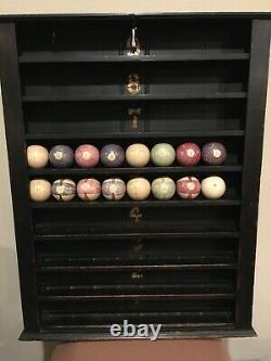 Antique Billiard Pool Ball Wall Rack 9 Shelves
