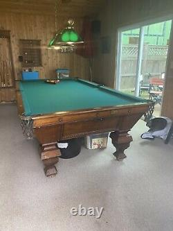 Antique Brunswick Pool Table 1898 With Accessories. Cue Rack And Ball Holder