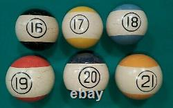 Antique Clay Baseball Pool Billiard Reverse Stripe 6 Ball Set Brunswick