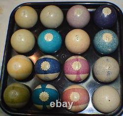 Antique Pool/Billiard CLAY Burt Double Stripe Pool Ball Set 2 c1880s