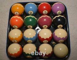 Antique Pool/Brunswick/Billiard Clay Zig Zag Pool Ball Set
