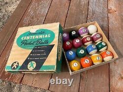 Antique Vintage Brunswick Centennial Pocket Billiards Balls Pool with original box