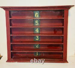Antique Wood Pool/Billiards Ball Rack 6 shelves Great Patina