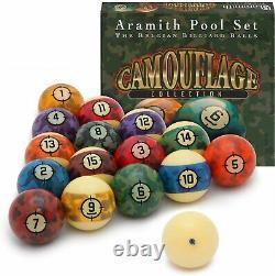 Aramith Camouflage 2 1/4 Inch Spots Stripes American Pool Balls Unique Design