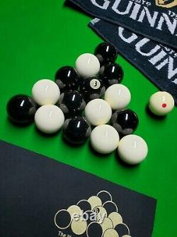 Aramith Pool Balls Set Exclusive Guinness Black White Hainsworth cloth, towels