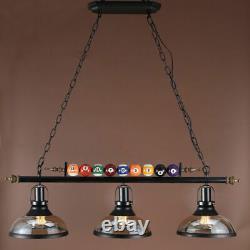 Ball Design Pool Table Light Billiard Pendant Lamp Glass Shade Island Chandelier