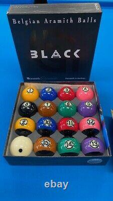 Belgian Aramith Black Pool Balls TV set (NEW Edition) +free GIFT