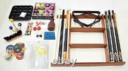 Billiard Accessory Kit Pool Table Deluxe Pool Cue Sticks Rack Bridge Ball Sets