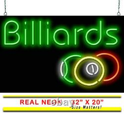 Billiards With Balls Neon Sign Jantec 32x 20 Pool Hall Pool Table Vintage
