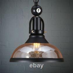 Black Metal Ball Design Pool Table Light Billiard Lamp with Amber Glass Shades