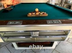 Brunswick Pool Table, Gold Crown I Vintage White withBalls And Cue Rack