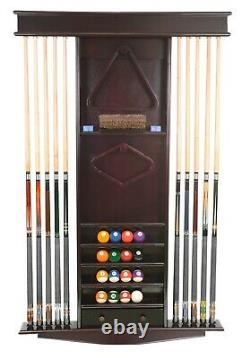 Cue Rack Only Deluxe 10 Pool Cue Billiard Stick + Ball Set Wall Rack