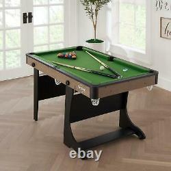 FOLDING POOL BILLIARD TABLE SET 60 Inch Felt Entertainment Game Room Cues Balls