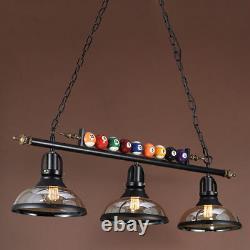 Game Room 3 Lights Billiard Ball Pool Table Lamp Industrial Vintage Fixture