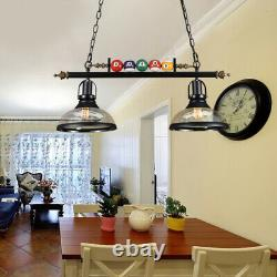 Game Room Metal Billiard Light with Balls Pool Table Lamp with 2 Glass Shades