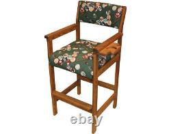 Hippopotamus USA Made Billiards Spectator Chair Solid Oak/Pool Balls Fabric