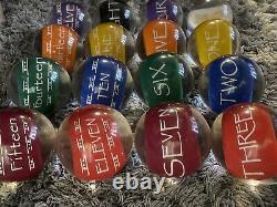 Hobbit Style Clear Pool Balls Gold Print Clear 2-1/4 in. Billiard Balls Full Set