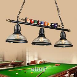 Industrial 3 Lights Game Room Billiard Balls Metal Pool Table Glass Lamp Fixture