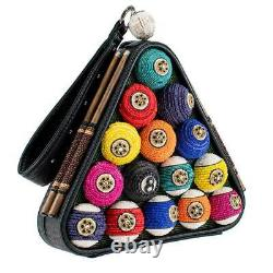 Mary Frances Chalk It Up 8 Ball Billiards Pool Shark Bag Handbag Cue Balls NEW