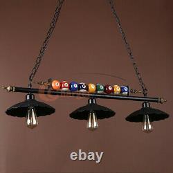 Metal Ball Design Pool Table Light Billiard Lamp with 3 Metal Shades Black