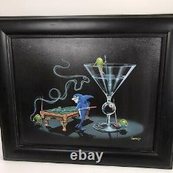 Michael Godard's Pool Shark II Framed Billiards Martini 8 ball man cave Giclee