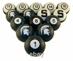 NCAA Michigan State Spartans Numbered Pool Balls Set College Football Billiards