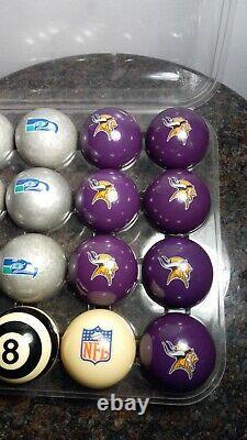 NFL Minnnesota Vikings vs. Seattle Seahawks Pool Ball Billiards Balls Set