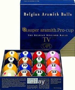 New Belgian SUPER ARAMITH PRO-CUP TV Pool Balls Set BRAND NEW Billiard SATS