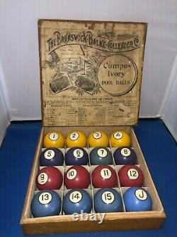 Original Antique BBC Compo-Ivory pool billiards ball box and POKER balls