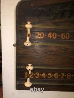 Original Pierce Carved Antique billiards pool scoreboard Brunswick Balke Col