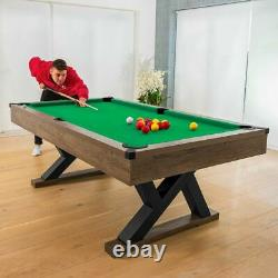 PINPOINT Pool Table 7FT WOODEN FINISH TABLE + 2x Cues, Balls, Chalk & Triangle