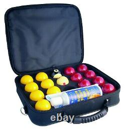 SUPER ARAMITH PRO CUP 2 Red & Yellow Pool Balls 1 7/8 White Ball Cleaner &Case