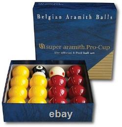 SUPER ARAMITH PRO CUP POOL BALLS MATCH 2(51mm) REDS & YELLOWS 1 7/8TV CUE BALL