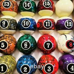 Samurai Fantasy Pool Balls 2 UK 2 1/16 snooker and 2 1/4 American size