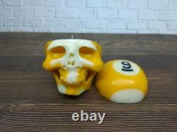 Skull Skeleton Open Head Statue from Billiard Pool Ball Number 9 Hand Carved