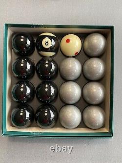 Special Aramith Exclusive Black & Silver English Pool Balls + Pro Cup Cue/8 Ball