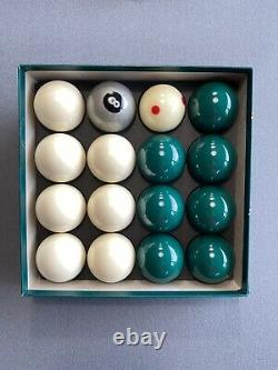 Special Aramith White And Green Pool Balls + Silver 8 Ball & Pro Cup Cue Ball