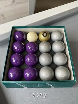 Special Exclusive Aramith Pool Balls Purple & Silver + Gold 8 Ball