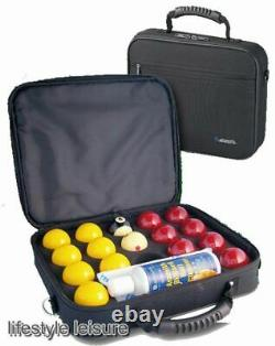Super Aramith Pro Cup 2 inch UK Red and Yellow Set in Carry Case Free Delivery