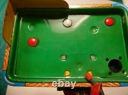 TPS Lucky Monkey Playing Billiards NMIB Tin Wind-up with pool balls, packaging BOX