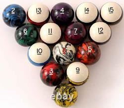 Tournament Quality Poolballs / Billiard Ball Set Marbleized