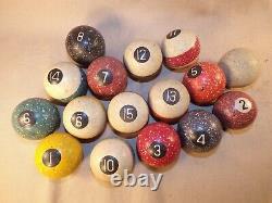 Vintage Antique Brunswick  Speckled Billiard Pool Ball Lot of 16