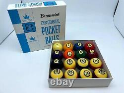 Vintage Brunswick Centennial Gold Crown Pocket Balls Pool table Billiards F/S