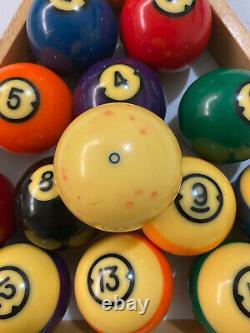 Vintage Brunswick Centennial Pool Balls WithWood Rack Complete Set Nice